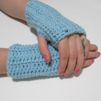 Pale Blue Wrist Warmers, Crochet Simple Fingerless Gloves, FREE US SHIPPING, Driving Gloves, Texting Gloves, Christmas Gift, Light Blue