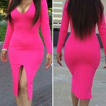 Pink Long Sleeve Front Slit Bodycon Dress
