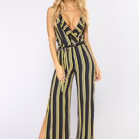 Corine Wide Leg Jumpsuit - Navy/Yellow
