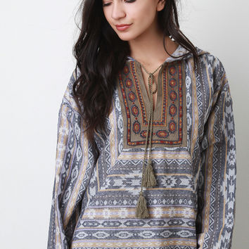Tribal Long Sleeve Hoodie Top