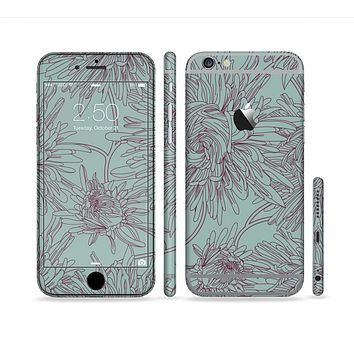 The Teal Aster Flower Lined Sectioned Skin Series for the Apple iPhone 6s Plus