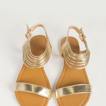 Ankle Strappy Sling Back Sandals - Gold -6