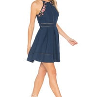 J.O.A. Flower Embroidery Dress in Navy Multi | REVOLVE
