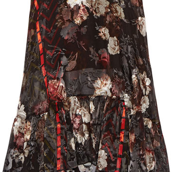 Preen by Thornton Bregazzi - Walsh printed devoré silk-blend chiffon midi skirt