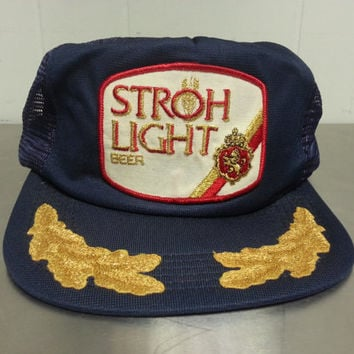 Vintage 80's Stroh Light Snapback Trucker Hat Military Branches Scrambled Eggs Made In USA Patch