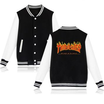 Thrasher flame special large size tide coat plus cashmere couple baseball clothing Red letters-1