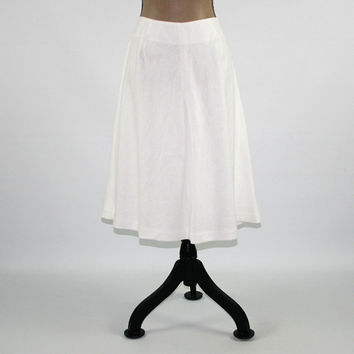 White Linen Skirt Women Large Petite White Skirt Midi A Line Aline Skirt Size 12 Skirt Talbots Womens Clothing