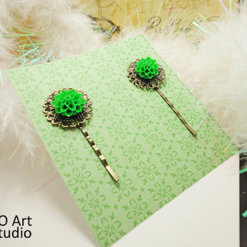 Chrysanthemum Resin Victorian style Long Hair pins
