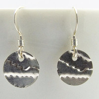 Sterling Silver Textured Disc Earrings, Minimalist Womens Earrings, Circle Earrings, Coin Earrings,