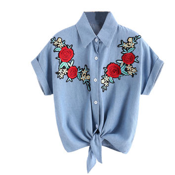 Rose Flower Embroidered Blouse
