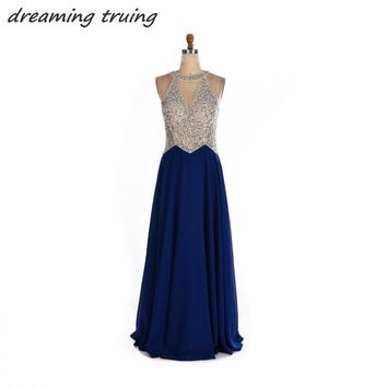 Long Royal Blue Prom Dresses See Through Back Sparkly Beaded Sequined Women Evening Party Gowns Robe De Soiree 2018 Custom Made