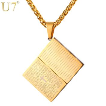 U7 Necklace Holy Bible Book Shape Stainless Steel Pendant & Chain Unisex Christmas Gifts Christian Cross Jewelry Necklaces P1032