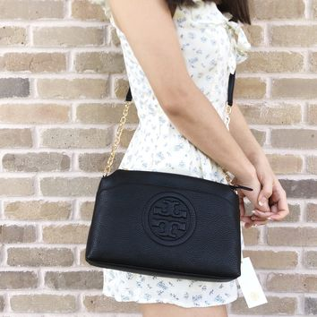 Tory Burch Bombe Chain Large Crossbody Messenger BagBlack