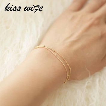 KISS WIFE Bracelets Summer Double-Layer Satellite Chain Gold Bracelets Wedding Gift