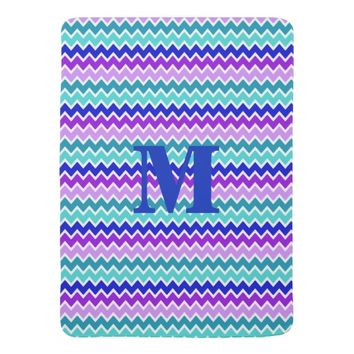 Teal Turquoise Navy Blue Lavender Purple Chevron Stroller Blanket