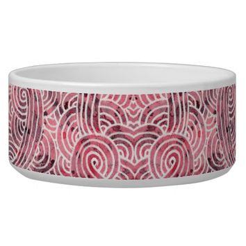 Pet bowl - Red and white scrolls
