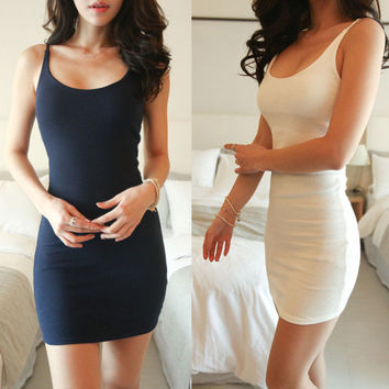 Sleeveless Vest Dress Slim One Piece Dress [10399254541]