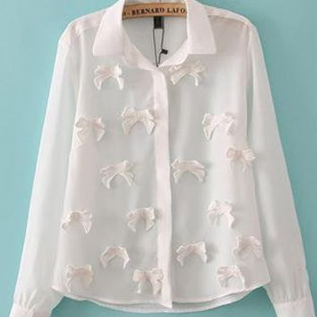 White Bow Long Sleeved Shirts S010180