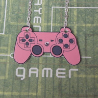 GIRL GAMER Pink Playstation Video Game Controller Necklace