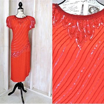 Flapper dress size S 5 / 6 / Roaring 20s / Vintage designer dress /  Red Beaded sequined silk dress / Cocktail / Party / Evening / Formal