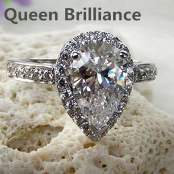 Ring. 2 Carat Pear Cut NSCD/SONA Simulated Diamond Engagement Wedding Ring. Lab Created.