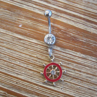 Belly Button Ring - Body Jewelry - Red Ships Wheel with Clear Gem Belly Button Ring