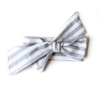 Baby Headwrap Gray Stripes