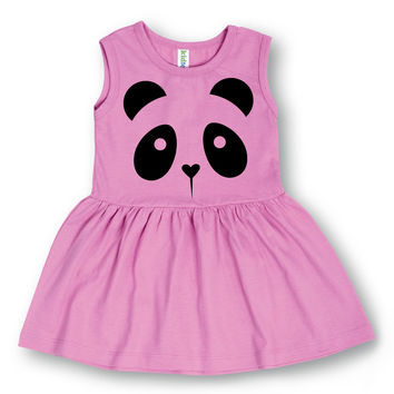 Lavender Panda Face A-Line Dress - Toddler & Girls