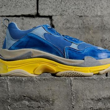 [ Free  Shipping ] Balenciaga Triple S Blue /Yellow  Running Sneaker