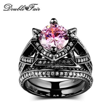 Double Fair Cubic Zirconia Pink Crystal Rings Sets Black Gold Color Engagement / Wedding Ring Sets Fashion Women Jewelry DFR618