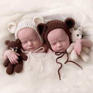 Adorable Handmade Newborn Infant Crochet Teddy Bear Hat and Stuffed Teddy Bear Toy