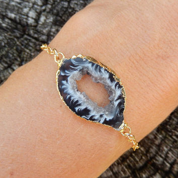 Geode Slice Bracelet 14K Gold Agate Freeform Druzy Crystal Quartz Rock Agate Boho Black White Gold Filled Chain - Free Shipping OOAK Jewelry