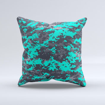 Bright Teal and Gray Digital Camouflage  Ink-Fuzed Decorative Throw Pillow