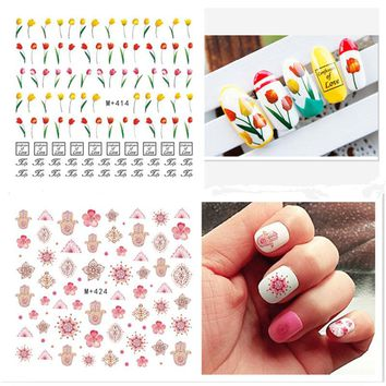 Mtssii 3D Nails Art Sticker Decals Colorful Summer Cactus Smile Pineapple Flower Fantacy Nail Wraps Sticker Decorations Tools