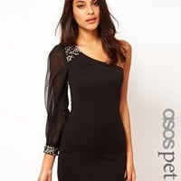 ASOS PETITE Exclusive One Shoulder Bodycon Dress With Embellishment at asos.com