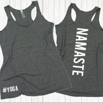 Namaste #Yoga - Eco Flowy Tank Top. Racer-back workout shirt. Yoga tank top. Flowy Yoga shirt. Eco Yoga Tank. Namaste Tank Top.