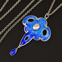 Outstanding Art Nouveau Blue Enamel Baroque Pearl Necklace