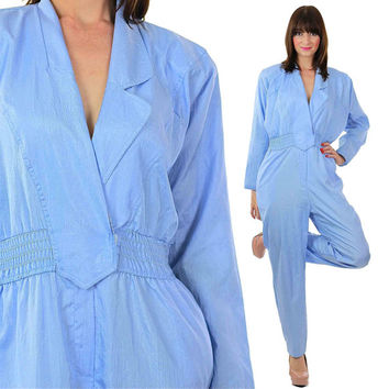 80s Jumpsuit Blue Jumpsuit Menswear Jumpsuit Disco Jumpsuit Blue romper Vintage Romper Party Jumpsuit Cocktail Jumpsuit Tuxedo Jumpsuit