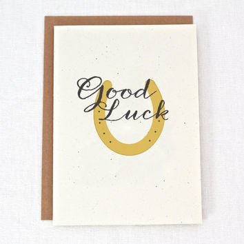 Good Luck - Horseshoe - Thinking of You - Greeting Card