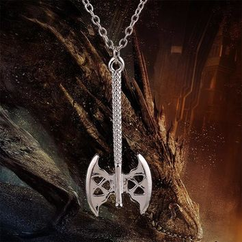 The Hobbit Lord of Rings Necklace Dwarf Gimli axe Pendant Jewelry Necklace Collar For Men and Women