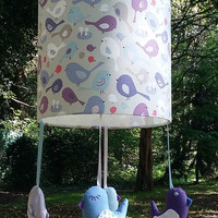 Bird nursery lampshade - Blue and purple room theme - Little birdies - Ideal present for new baby girl, new mums, christening