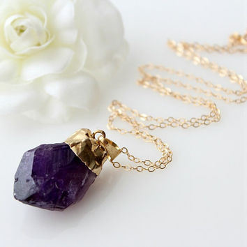 Raw Amethyst Pendant Necklace, Purple Amethyst Points, 14k Gold Filled Chain, Large Purple Stone Pendant, Purple Druzy