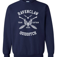 Custom name and number on back Ravenclaw Quidditch team Captain WHITE print on Navy Crew neck Sweatshirt