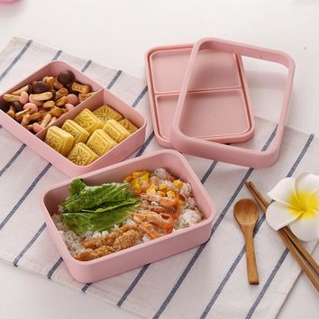 Portable Food Container Launch Box Lunch Box Bamboo Fiber 1250ml Double Layer Sushi Bento Office Food Mircowafe Trays Lonchera