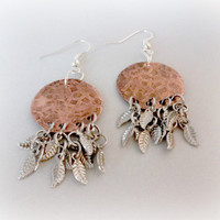 Hammered Copper Earrings, Silver and Copper Chandelier Earrings, Boho Earring