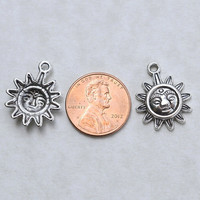 BULK 50 Sun Face #BCH177 Antique Silver Charms-Celestial Jewelry Charms-Antique Silver Jewelry Supplies-Alloy Metal Loose Charms-Findings
