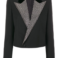 Saint Laurent Crystal Stud Iconic Le Smoking Spencer Cropped Jacket - Farfetch