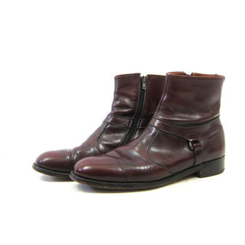Vintage Beatle Boots Oxblood Brown Leather HIpster Boots Mens Side Zipper Breather Wright Chelsea Boho Zip Up Ankle Boots Men's Size 10 C