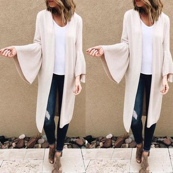 Fashion Womens Autumn Winter Cardigan Coat Bell Sleeve Loose Sweater Outwear USA
