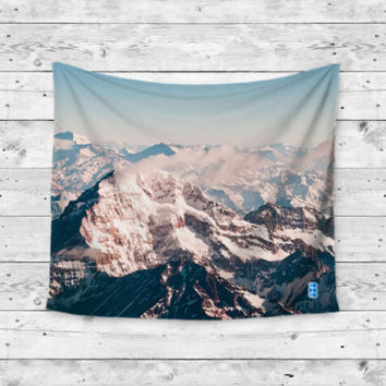 Snow Cap White Mountain World Gypsy Unique Dorm Home Decor Wall Art Tapestry